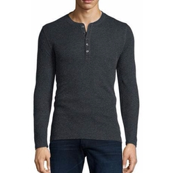 Cotton/Cashmere Long-Sleeve Henley Shirt by Majestic Paris for Neiman Marcus  in Quantico