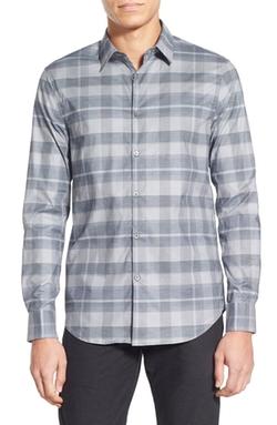 Slim Fit Long Sleeve Plaid Sport Shirt by John Varvatos Star USA in Empire