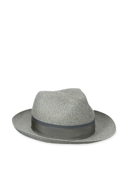 Braided Straw Fedora with 2 Color Band Hat by Hickey Freeman in Empire
