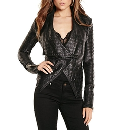 Shayna Drape Leather Jacket by Guess By Marciano in Riverdale
