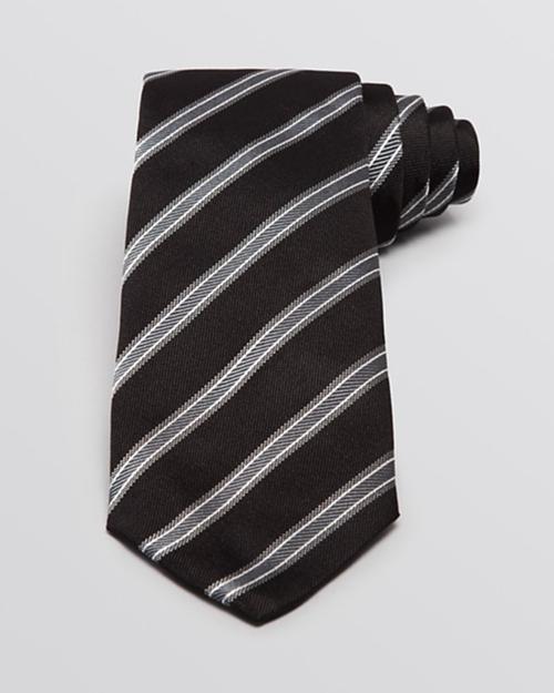 Pique And Twill Diagonal Stripe Tie by Armani Collezioni in The Walk