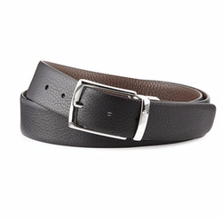 Pebbled Leather Reversible Belt by A.Testoni in Quantico