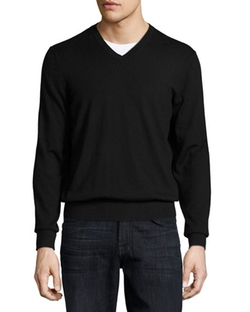 Cashmere V-Neck Sweater by Neiman Marcus in Imaginary Mary