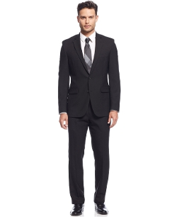 Extreme Black Solid Slim-Fit Suit by Kenneth Cole New York in The Best of Me