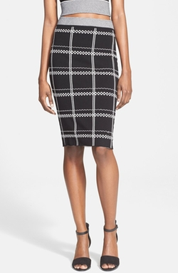 'Ruley' Embroidered Checks Pencil Skirt by A.L.C. in The Mindy Project