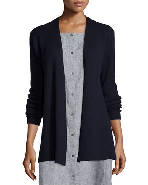 Long Washable Wool Cardigan by Eileen Fisher  in Sully