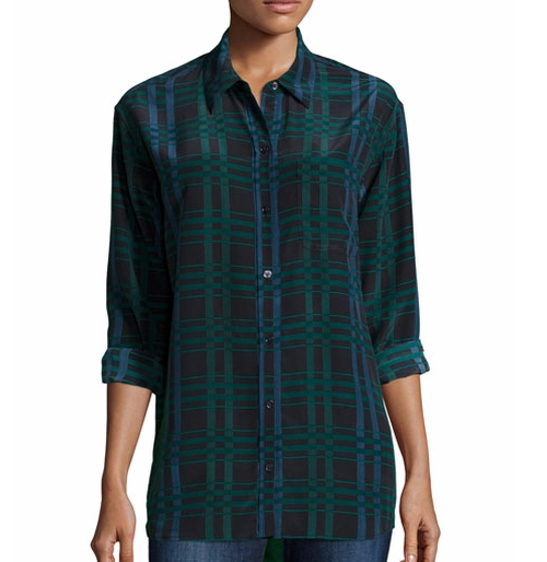 Daddy Long-Sleeve Plaid Blouse by Equipment in Pretty Little Liars - Season 7 Episode 8