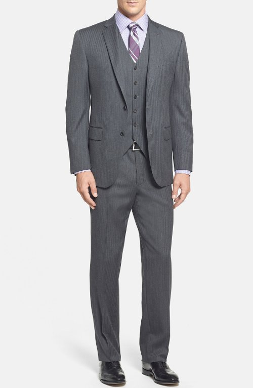 Ryan Classic Fit Three Piece Suit by David Donahue in Paddington