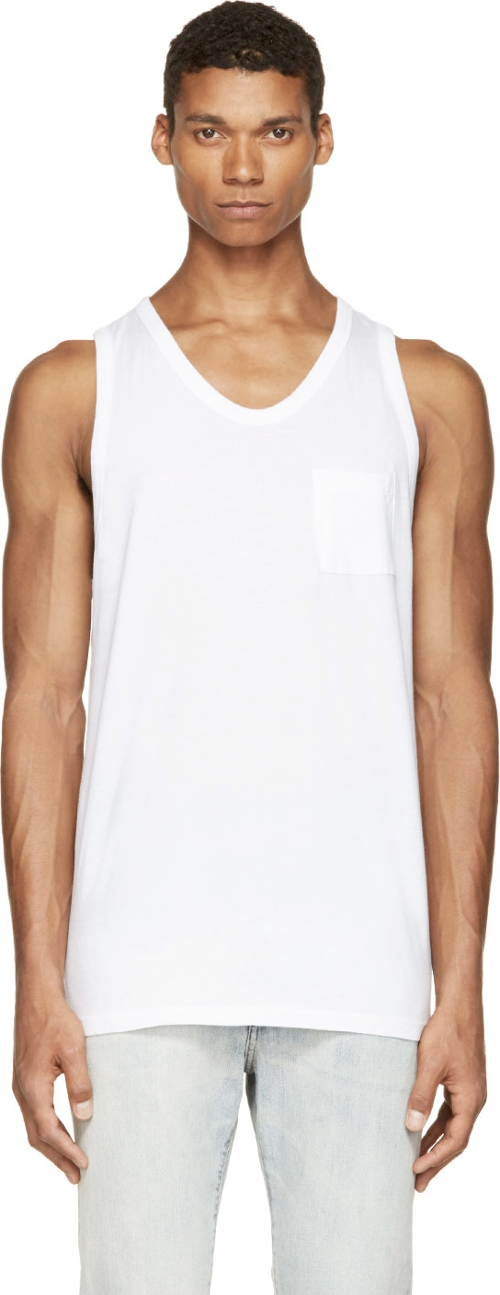 White Pima Cotton Pocket Tank by Alexander Wang in Adult Beginners