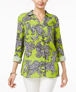 Printed Utility Shirt by NY Collection in La La Land