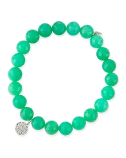 Chrysoprase Beaded Bracelet With Diamond Disc Charm by Sydney Evan in Pitch Perfect 2