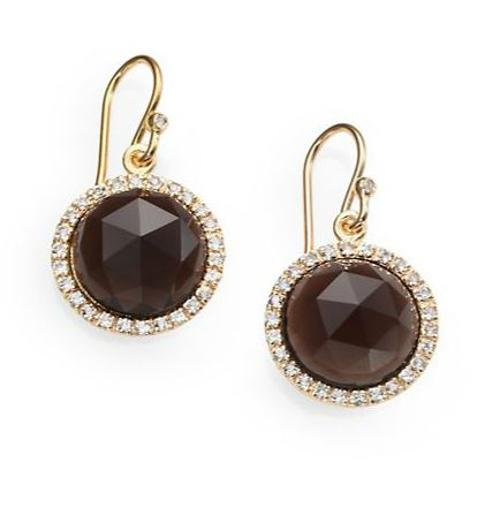Smoky Topaz & Pavé White Sapphire Drop Earrings by Mija in The Other Woman