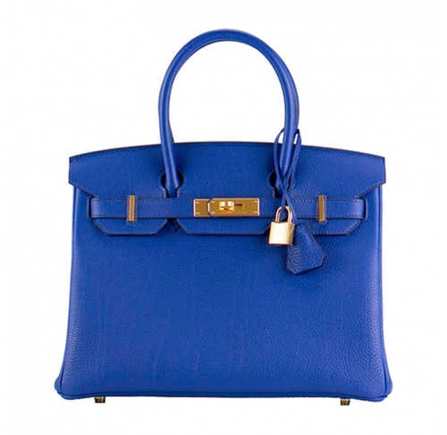 Birkin Togo Leather Blue Electrique Bag with Gold Hardware by Hermès in Keeping Up With The Kardashians