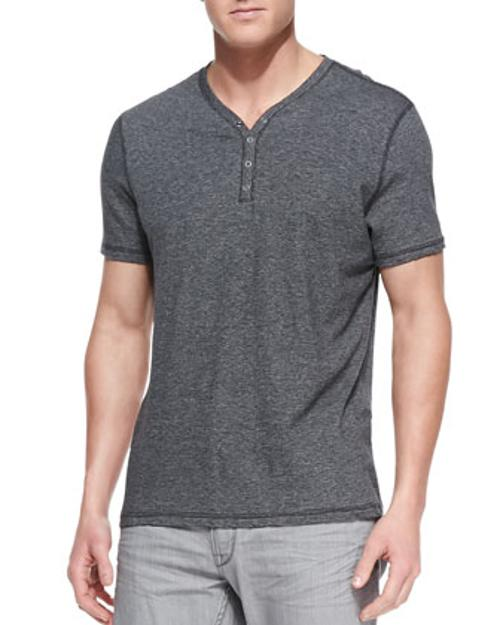 Striped Short-Sleeve Henley by John Varvatos Star USA in Addicted