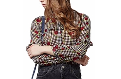 Floral Gingham Ruffled Shirt by Topshop in Pretty Little Liars