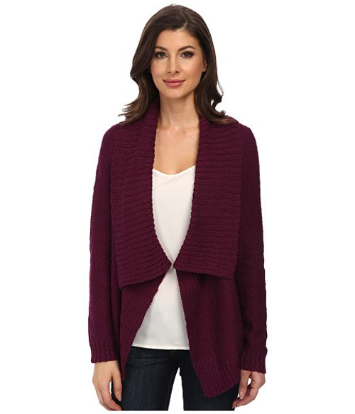 Drape Front Novelty Stitch Cardigan by Jones New York in Drive