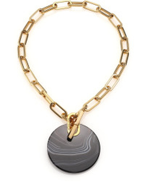 Cityspace Disc Black Agate Toggle Pendant Necklace by Michael Kors in Confessions of a Shopaholic