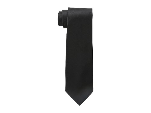 Golden Island Solid Silk Tie by DKNY in Blackhat