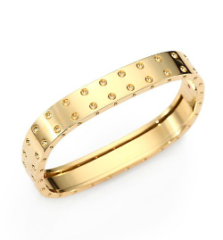 18K Yellow Gold Pois Moi Two-Row Bangle Bracelet by Roberto Coin in Beyond the Lights