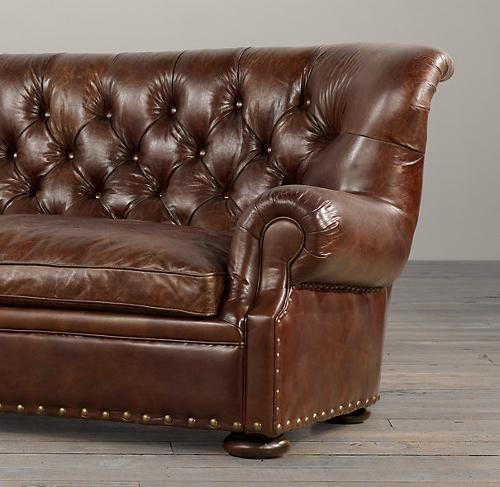 Churchill Leather Sofa with Nailheads by Restoration Hardware in Dumb and Dumber To