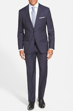 'Johnstons/Lenon' Trim Fit Stripe Wool Suit by BOSS in The Blacklist