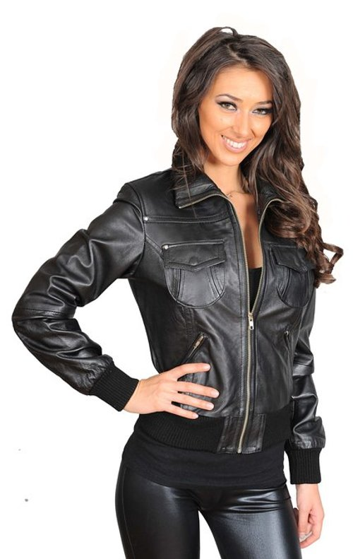 Women's Short Fitted Bomber Leather Jacket by A1 Fashion Goods in Furious 7