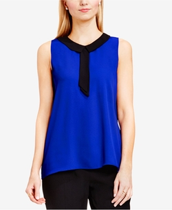 Contrast-Collar Tie-Neck Top by Vince Camuto in Guilt