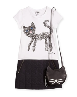 Cat Scribble Jersey Tee by Karl Lagerfeld in Black-ish