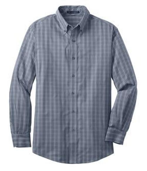 S642 Mens Tattersall Easy Care Long Sleeve Button Down Shirt by Port Authority in If I Stay