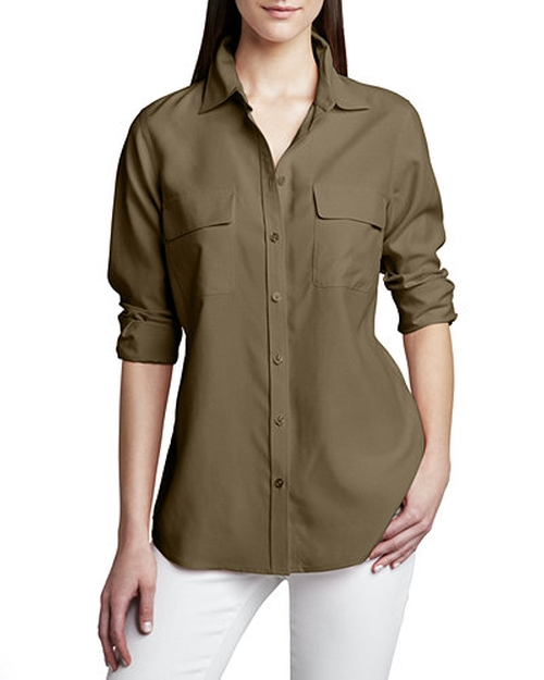 Bryce Dallas Howard Go Silk Safari Long-Sleeve Silk Shirt