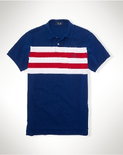 Custom-Fit Striped Polo Shirt by Polo Ralph Lauren in Dope