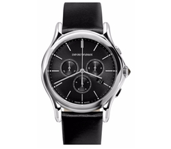 Chronograph Leather Strap Watch by Emporio Armani Swiss Made in Ballers