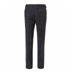 Eggsy's Charcoal Chalk-Striped Wool Suit Trousers by Kingsman in Kingsman: The Golden Circle