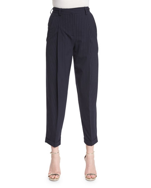 Cuffed High-Rise Pinstripe Ankle Pants by DKNY in Mistresses