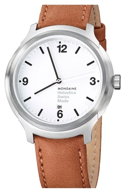 'Helvetica No.1 Bold' Leather Strap Watch by Mondaine in The Flash
