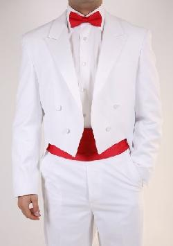 Men's White Tuxedo Tails Includes Tailcoat and Tuxedo Pants by Paragon Stores in The Great Gatsby