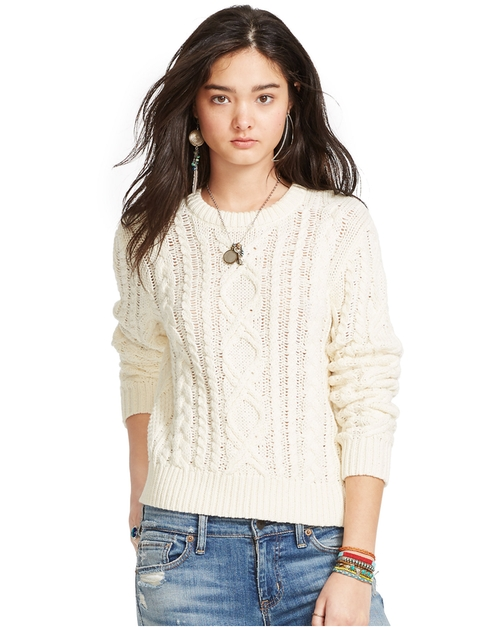 Cable-Knit Crewneck Sweater by Denim & Supply Ralph Lauren in The Girl on the Train