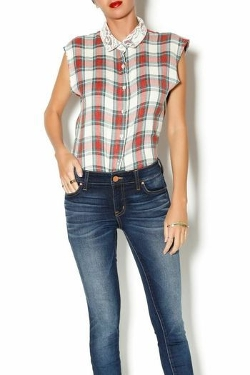 Plaid Sleeveless Button-Up Top by En Creme in Barely Lethal