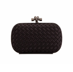 Woven Satin Knot Minaudiere Bag by Bottega Veneta in Conviction