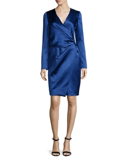 Silk Long-Sleeve Deep-V Wrap Dress by J. Mendel in Empire