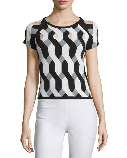 Olympia Short-Sleeve Printed Cutout Top by Rag & Bone in Mistresses - Season 4 Episode 9