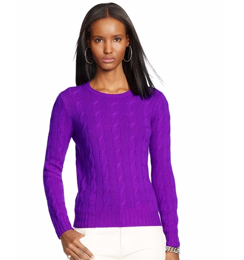 Maria Bamford's Purple Ralph Lauren Black Label Cabled Cashmere ...