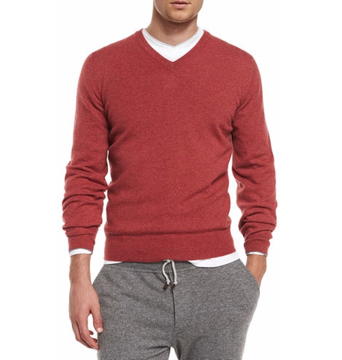 Cashmere V-Neck Pullover Sweater by Brunello Cucinelli in Why Him?