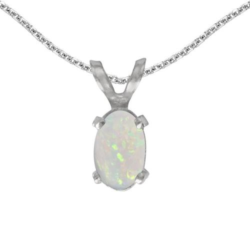 14k White Gold Oval Opal Pendant by Direct Jewelry in Ouija