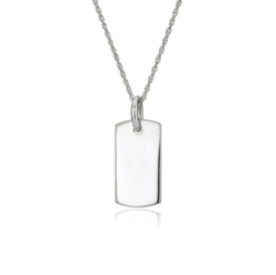 Engraveable Dog Tag Pendant Necklace by Amazon Collection in Sisters