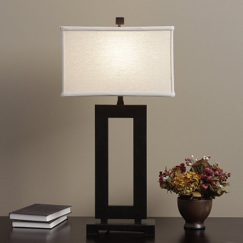 Metal Table Lamp with Cream Shade by Mocha in Crazy, Stupid, Love.