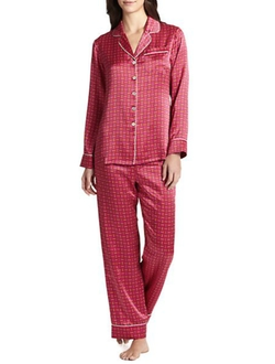 Printed Silk Satin Pajama Set by Olivia Von Halle in Black-ish