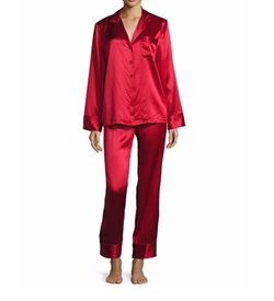 Satin Silk Two-Piece Pajamas by Neiman Marcus in Animal Kingdom