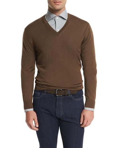 High-Performance V-Neck Sweater by Ermenegildo Zegna in Sully