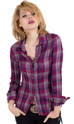 Magenta Plaid Shirt by Cino in Barely Lethal